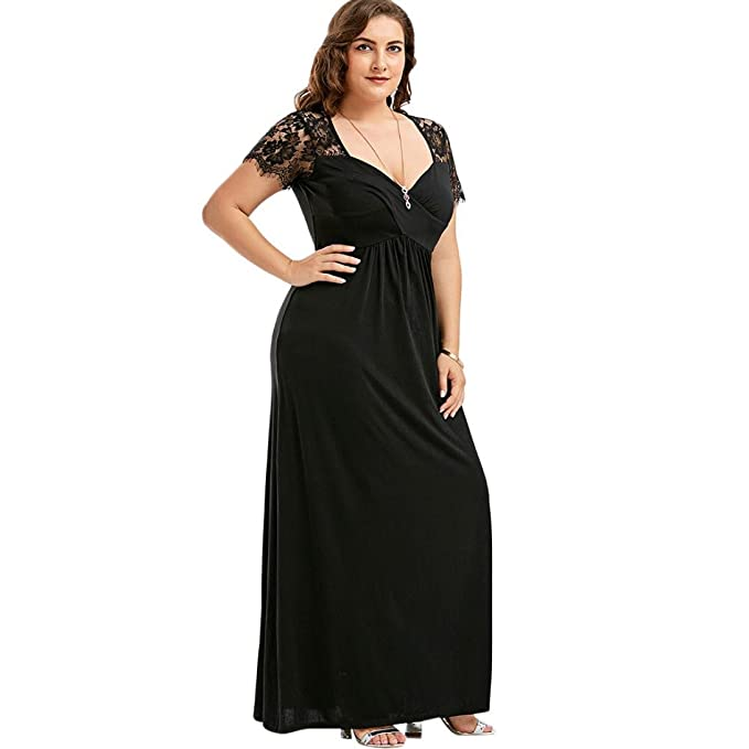 77f7c3556 HODOD Women Plus Size Short Sleeve Lace Loose Maxi Vintage Long Floor  Length Cocktail Evening Party Prom Gown Formal Dress at Amazon Women's  Clothing store: