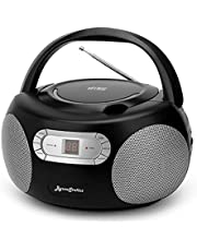 ByronStatics Portable CD Player Boombox with AM FM Radio, Top Loading CD, 1W RMS x 2 Stereo Speaker, Aux-in Jack, LCD Display, AC110-120V Operated Black