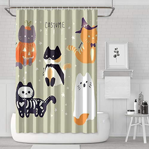 OIPVBDSEXZ Cat Halloween Costume Shower Curtain Navy 72