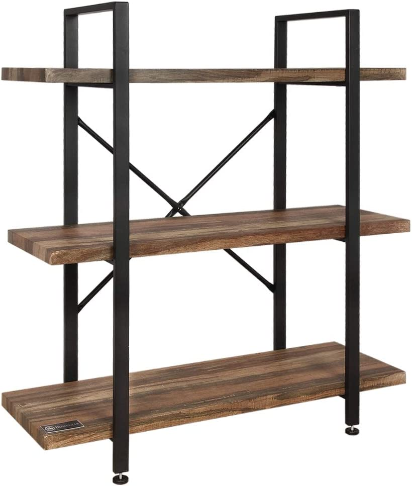 Homegear Vintage Oak Style 3 -Tier Bookcase - Wood Shelves w/Black Iron Frame
