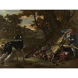 Perfect Effect Canvas ,the Beautiful Art Decorative Prints On Canvas Of Oil Painting 'Jan Baptist Weenix A Huntsman Cutting Up A Dead Deer With Two Deerhounds ', 20 X 27 Inch / 51 X 68 Cm Is Best For Kitchen Decoration And Home Decoration And Gifts