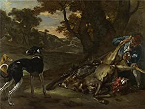 Oil painting 'Jan Baptist Weenix A Huntsman cutting up a Dead Deer with Two Deerhounds ' printing on polyster Canvas , 10 x 13 inch / 25 x 34 cm ,the best Powder Room artwork and Home decoration and Gifts is this Best Price Art Decorative Prints on Canvas