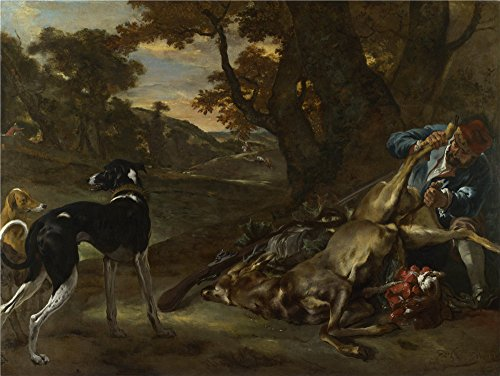 Oil Painting 'Jan Baptist Weenix A Huntsman Cutting Up A Dead Deer With Two Deerhounds ' Printing On Polyster Canvas , 8 X 11 Inch / 20 X 27 Cm ,the Best Living Room Decor And Home Artwork And Gifts Is This Imitations Art DecorativeCanvas Prints