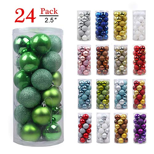 Christmas Balls Ornaments for Xmas Tree-Shatterproof Christmas Tree Decorations Large Hanging Ball Green 2.5'' by TQS