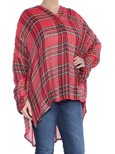 Free People Women's Fearless Love Sequin-Embellished Top, Red Plaid (Large)