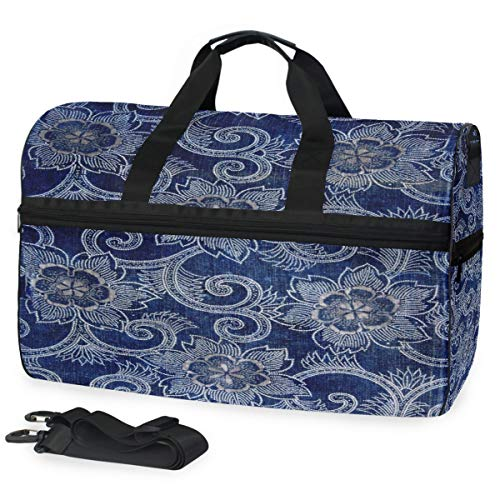 Indigo Patterns Gym Bags for Men&Women Duffel Bag Casual Fashion Bag with Shoe Compartment]()