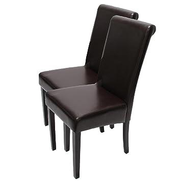 Leder ~ braun dunkle Beine Mendler 6X Esszimmerstuhl Lehnstuhl Stuhl Latina