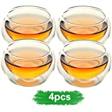 Home tea(TM) 50ml double layer glass teacup Handcraft Heat Resistant tea cup set of 4
