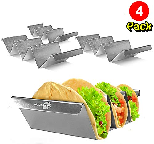 (Food Grade Stainless Steel Taco Holder with Handles | Set of 4 | Rounded Edge Stand | Holds Up to 3 Soft Hard Tacos Each | Dishwasher Oven Grill Bake safe | Stackable Rack |for Household & Restaurants)