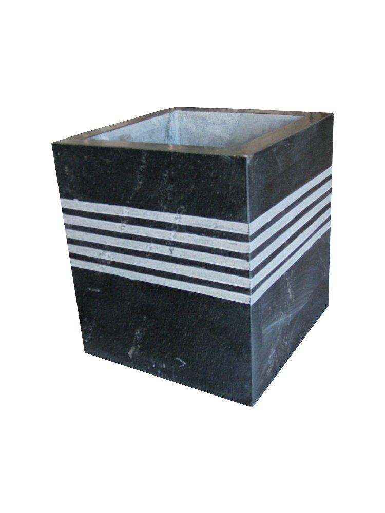 Pflanztopf / Pflanztrog aus Stein, handgearbeitet und poliert aus schwarzem Granit, echter Naturstein, für Innen und Außen geeignet
