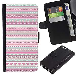 Planetar® Modelo colorido cuero carpeta tirón caso cubierta piel Holster Funda protección Apple (5.5 inches!!!) iPhone 6+ Plus / 6S+ Plus ( Pattern Native American Folk Pink )
