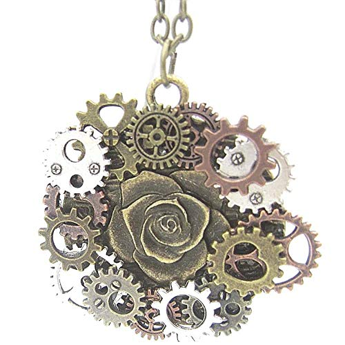 Halloween Steampunk Accessories Clock Gear Statement Necklace Vintage Costume Jewelry Mixed Metal (Rose & Gears) from Soul Statement