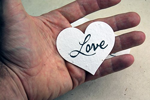 Large Love Heart Shape Seed Embedded Cotton Handmade Paper Tags