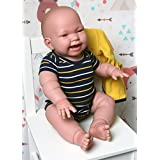 """Baby Boy Doll Soft Vinyl Reborn Anatomically Correct Berenguer with Detailed Wrinkles Toy Real Alive Washable Berenguer Realistic 18"""" inches Lifelike with Cute Accessories"""
