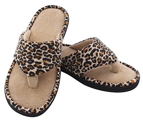 HomeTop-Womens-Leopard-Coral-Terry-Memory-Foam-Spa-Thong-Flip-Flop-Indoor-Outdoor-House-Slippers
