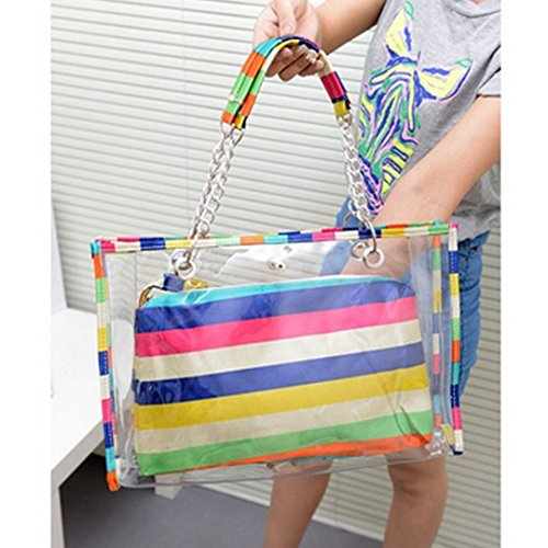 PVC LA Tote Swimming Summer Stripe Bags Purse Women Beach Waterproof Bags Small Girls Stripe Jelly Transparent with HAUTE Insert Colorful Colorful Shoulder rCqPw0r