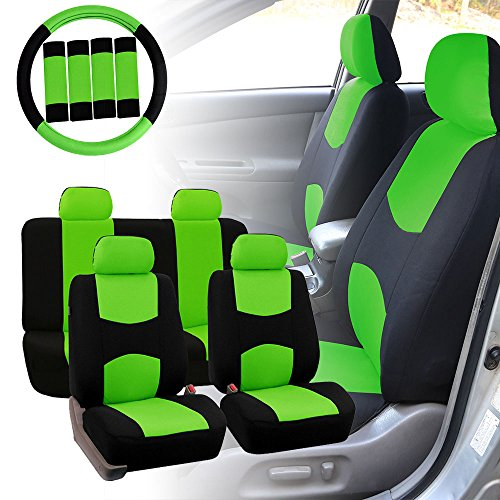 FH GROUP FH-FB050114 Full Set Flat Cloth Car Seat Covers w. FH2033 Steering Wheel Cover and Seat Belt Pads, Green / Black Color - Fit Most Car, Truck, Suv, or ()