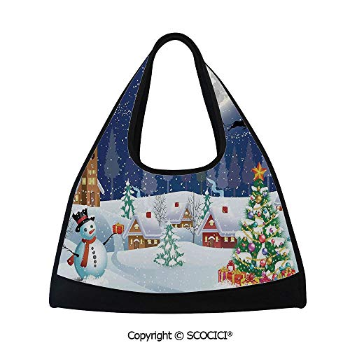 Badminton bag,Winter Season Snowman Xmas Tree Santa Sleigh Moon Present Boxes Snow and Stars,Sports and Fitness Essentials(18.5x6.7x20 in) Blue White