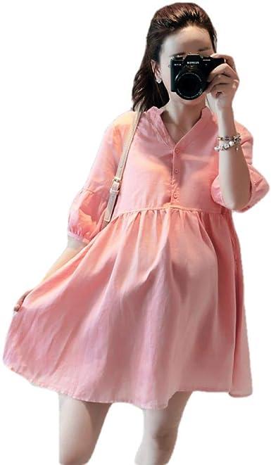 Vestidos de Maternidad Primavera y Verano, Falda de algodón y Lino para bebés, Mujeres Embarazadas, Vestido Suelto con Cuello en V de Color sólido: Amazon.es: Ropa y accesorios