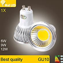 Super Bright GU 10 Bulbs Light Dimmable Led Warm/White 85-265V 6W 9W 12W GU10 COB LED lamp light GU 10 led Spotlight(Cole White/9w)