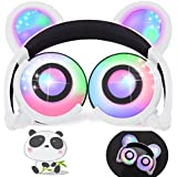 iGeeKid Kids Headphones Bear Ear LED Backlight USB Rechargeable Wired On/Over Ear Gaming Headsets 85dB Volume Limited 3.5mm Jack Headset Girls Boys Kids Tablet Phone Android PC Travel School White