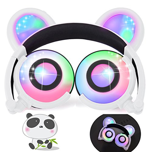 iGeeKid Kids Headphones Bear Ear LED Backlight USB Rechargeable Wired On/Over Ear Gaming Headsets 85dB Volume Limited 3.5mm Jack Headset for Girls Boys Kids Tablet Phone Android PC Travel School White