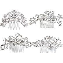 Pack of 4 Bridal Wedding Hair Comb Crystal Rhinestones Pearls Women Hair Side Combs Bridal Head Pin Headpiece (Silver)