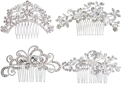 Pack of 4 Bridal Wedding Hair Comb Crystal Rhinestones Pearls Women Hair Side Combs Bridal Head Pin Headpiece (Silver) ()