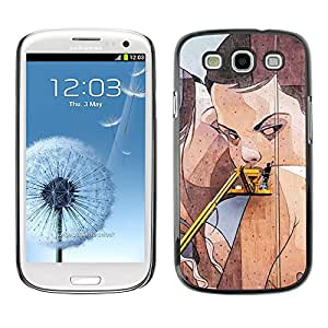 Shell-Star Arte & diseño plástico duro Fundas Cover Cubre Hard Case Cover para SAMSUNG Galaxy S3 III / i9300 / i747 ( Street Art Drawing Wall Lesbian Woman )