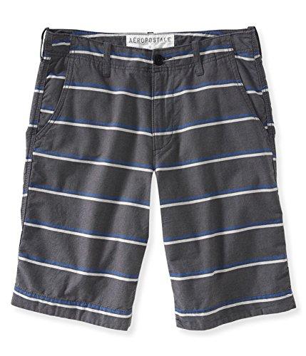 Aeropostale Mens Striped Longer Length Casual Bermuda Shorts, Grey, - Aeropostale Bermuda