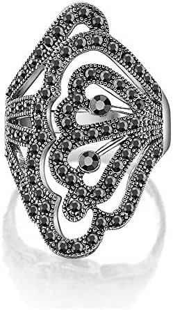 Dnswez Vintage Black Marcasite Crystal Butterfly Filigree Wide Cocktail Rings for Women Gift