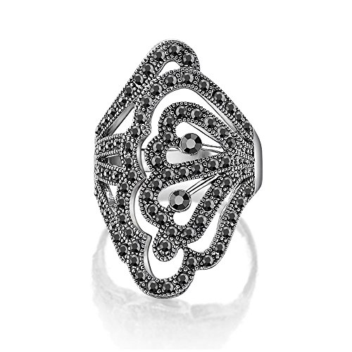 dnswez Marcasite Knuckle Filigree Rings Cut Out Victorian Style Statement Ring for Women Size: 7