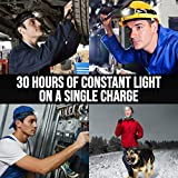 Foxelli USB Rechargeable Headlamp Flashlight - Up