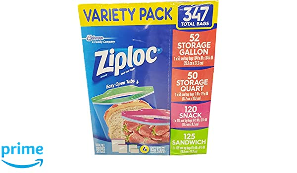 Ziploc Variety Pack 347 Total Bags by SC Johnson: Amazon.es: Salud y cuidado personal