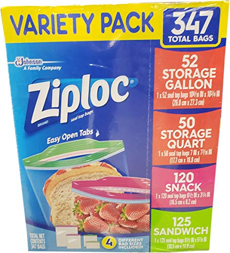 Ziploc Gallon, Quart, Sandwich, and Snack Storage Bags - Variety pack - 347 Total ()
