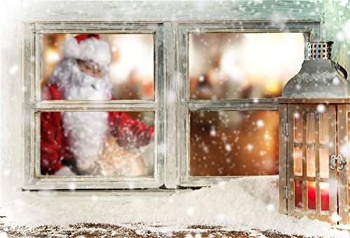 AOFOTO 7x5ft Christmas Backdrop Xmas Snowflake Photography Background Window Lantern Blurry Santa Claus New Year Kid Baby Infant Artistic Portrait Photo Shoot Studio Props Video Drop Wallpaper Drape (Claus Portrait Christmas Santa)
