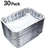 Hecentur 7-1/2-Inch-by-5-inch Aluminum Drip Pans Disposable BBQ Drip Pan Tray Aluminum Foil Tin Liners Holds Meat, Dishes Indirect Grill Cooking, 30PCS