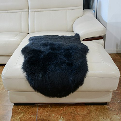 HUAHOO Faux Fur Sheepskin Rug Black Kids Carpet Soft Faux Sheepskin Chair Cover Home Décor Accent for a Kid's Room,Childrens Bedroom, Nursery, Living Room or Bath. 2' x 3' Rectangle