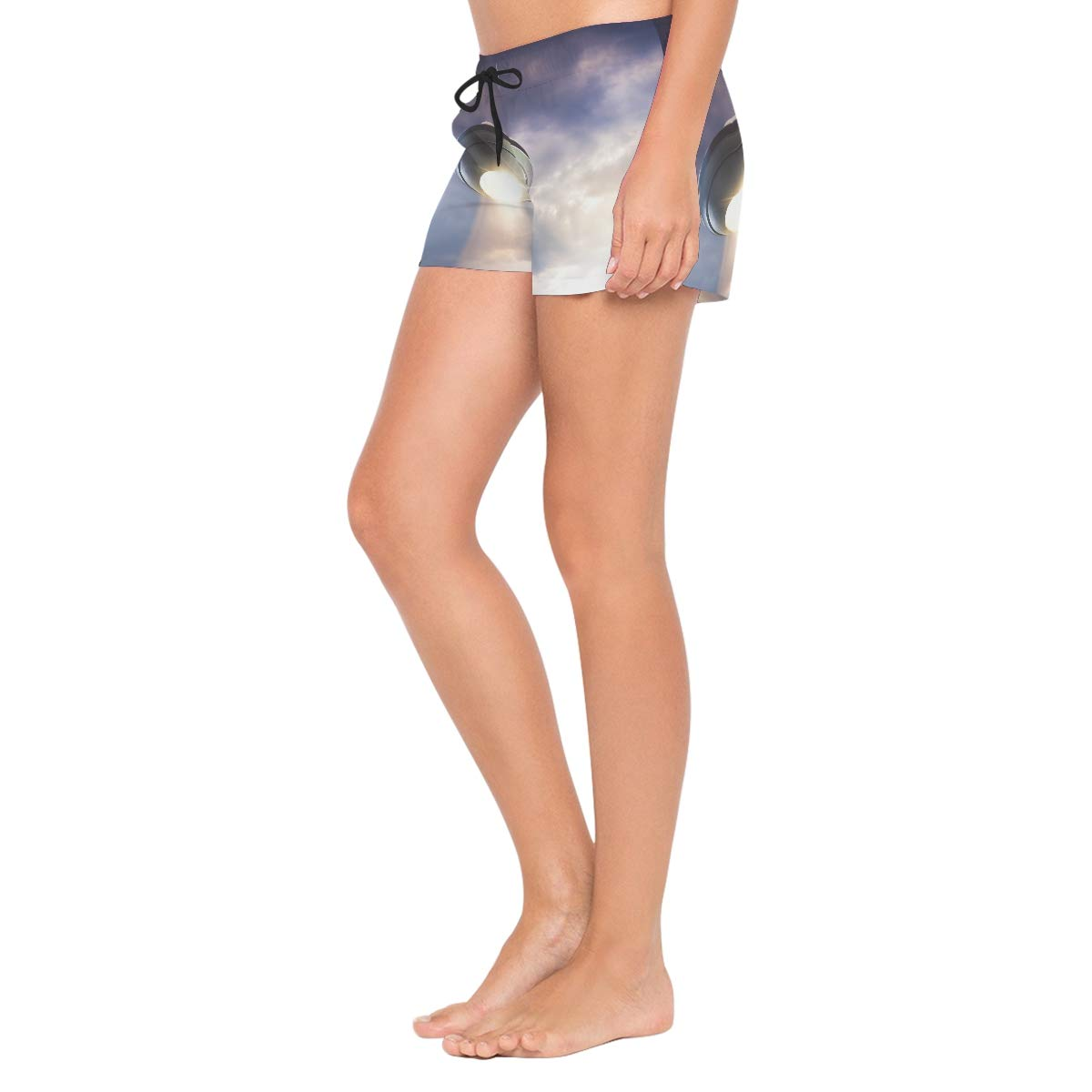UFO Under The Sky Womens Sport Beach Swim Shorts Board Shorts Swimsuit with Mesh Lining