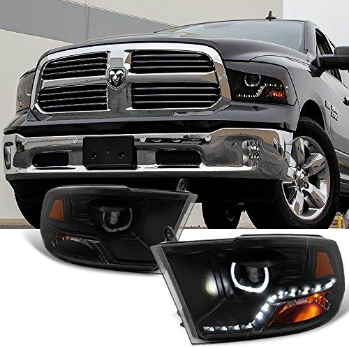 For [Angel Eye] 2009 2010-2018 Dodge Ram 1500 2500 3500 Halo LED Projector Black Smoke Headlights Headlamps