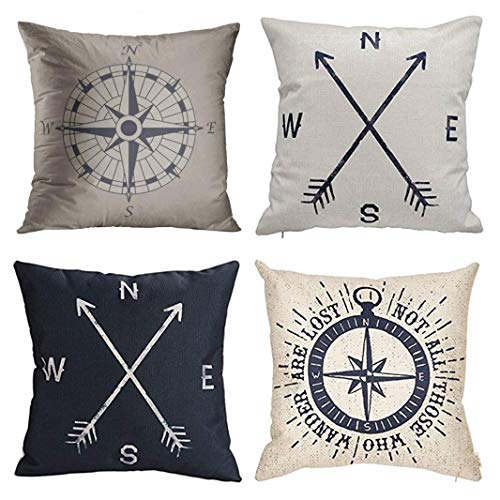 Emvency Set of 4 Throw Pillow Covers Nautical Compass Vintage Pattern Black Not All Those Who Decorative Pillow Cases Home Decor Square 20x20 Inches Pillowcases
