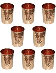 AVS STORE Pure copper hammered Glass for Healing Ayurvedic tableware accessories Set of 8