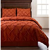 Pinch Pleat Orange Color TWIN Size 3-Piece Comforter Set, Bed Cover by Cozy Beddings