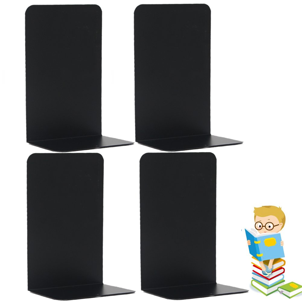 Economy Bookends Universal Black Heavy for Office,8.25 Inch, 4pcs(2 Pairs) by Sun Cling,Black