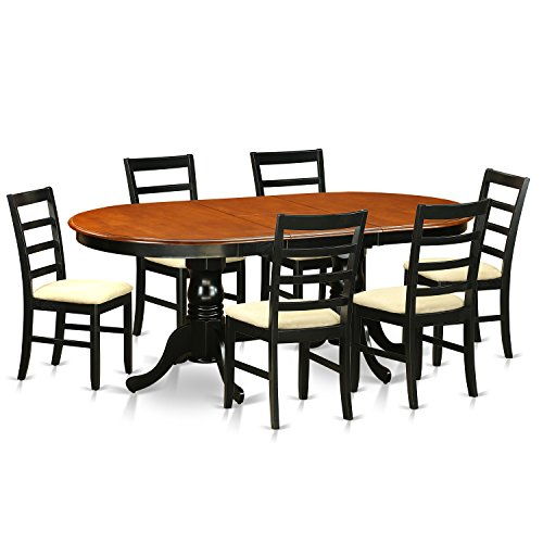 East West Furniture PLPF7-BCH-C 7 Piece Table with 6 Wooden Chairs Set