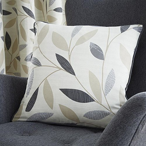 Colourful Luxury Cushion Cover Case with Floral Print - 100% Cotton - Beechwood Leaf - Charcoal Gray