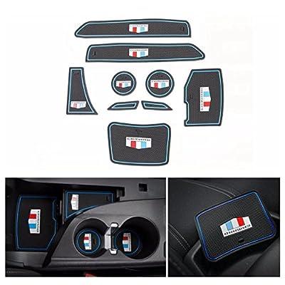 FMtoppeak 4 Colors 9pcs Door Groove Mat Interior Accessories Parts Silica Gel for Chevrolet Camaro 2016 Up (Blue): Automotive