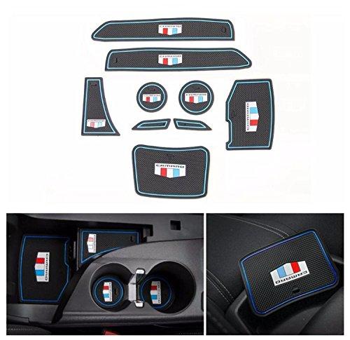 - FMtoppeak 3 Colors 9pcs Door Groove Mat Interior Accessories Parts Silica Gel For Chevrolet Camaro 2016 Up (Blue)