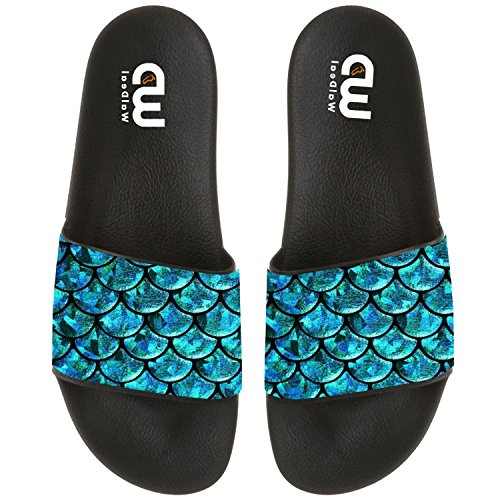 Price comparison product image Green Cute Mermaid Scales Summer Slide Slippers For Men Women Outdoor Beach Sandal Shoes size 11