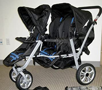 Amazon.com : Blue and Black Triple Trio Tandem Baby Jogger ...